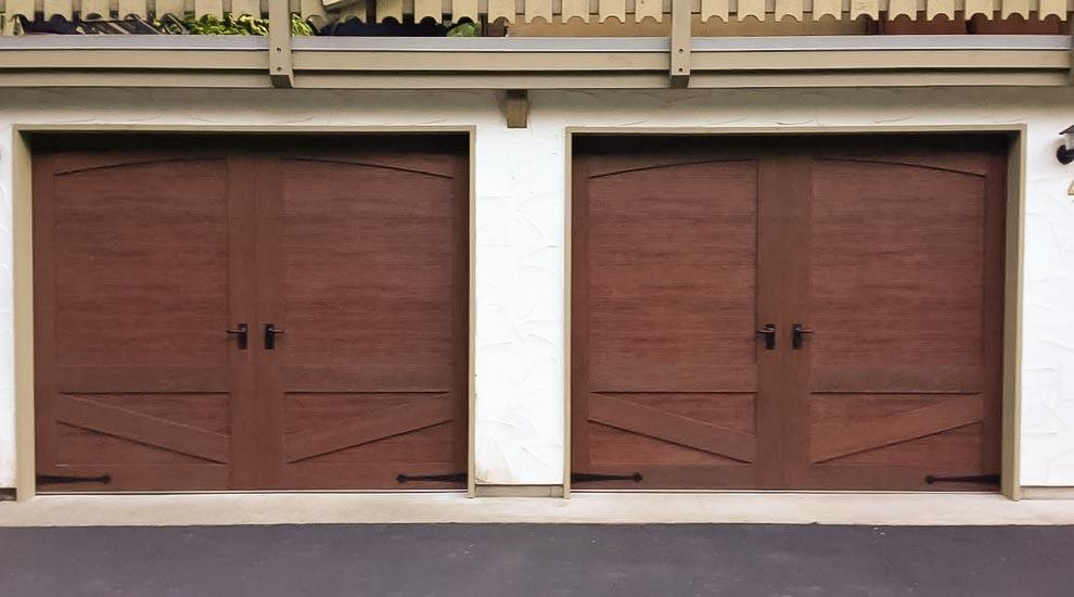 Faux wood garage doors for Clopay steel garage doors